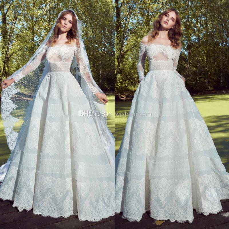 d0147c217e3 Discount 2019 Zuhair Murad Lace Wedding Dresses With Long Sleeves Off The  Shoulder Appliqued Bridal Gowns Modest Plus Size Vestido De Novia A Line  Wedding A ...