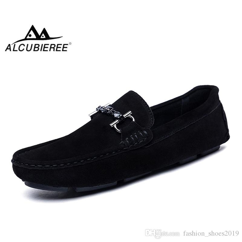 3d8a6faa571d ALCUBIEREE Genuine Leather Men Loafers Fashion Slip On Driving Shoes Men  Moccasin Boat Shoes Casual Business Gommino #115721
