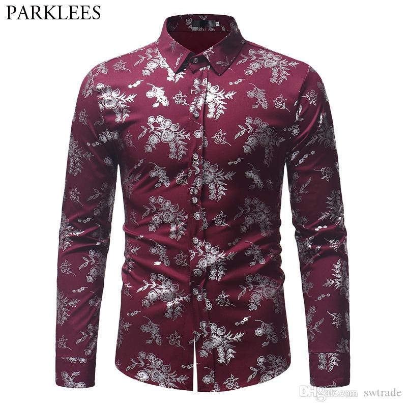 2b4d4dcb 2019 Wine Red Floral Golden Foil Print Dress Shirt Men Long Sleeve Slim Fit Chemise  Homme 2018 Autumn New Disco Perform Shirt Male #474891 From Swtrade, ...