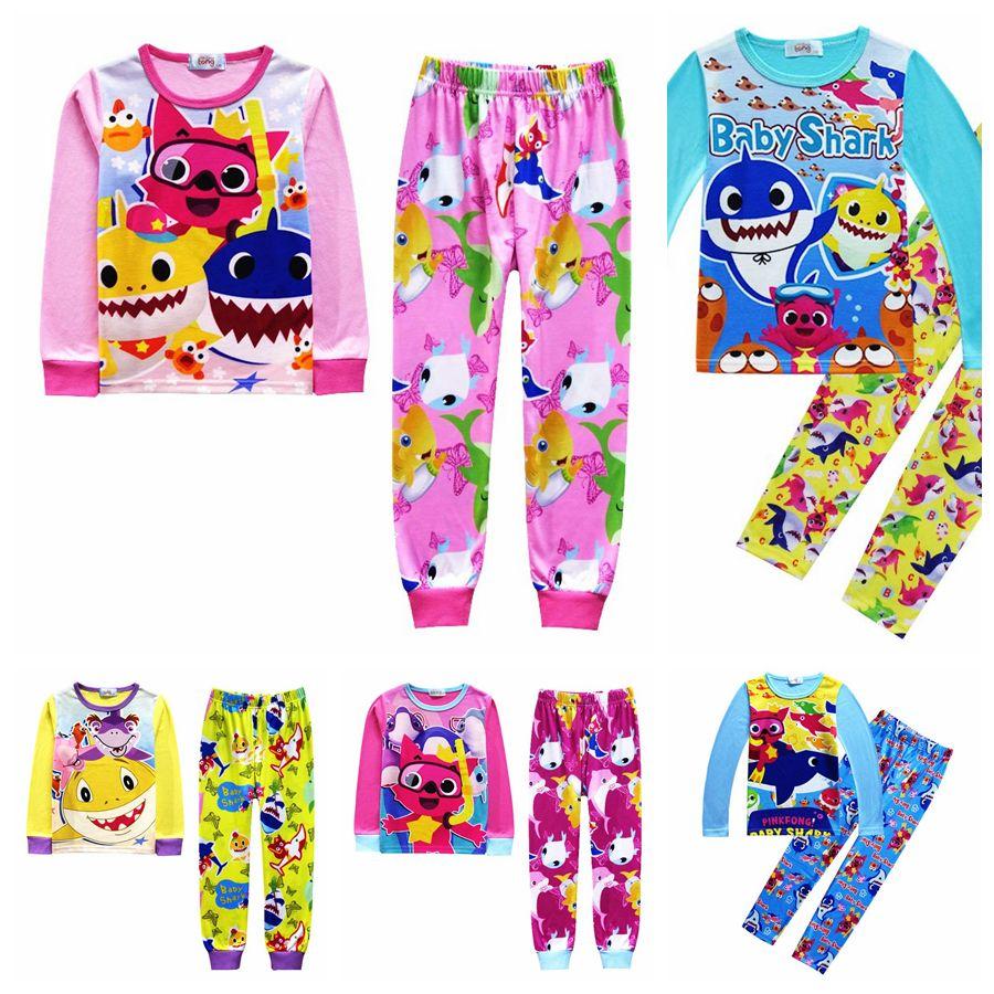 4be538f2e 2019 Kids Baby Shark Pajamas 5 Styles Baby Cartoon INS Indoor Suits Long  Sleeve T Shirt Pants Set OOA6369 From Best_bikini, $9.15 | DHgate.Com