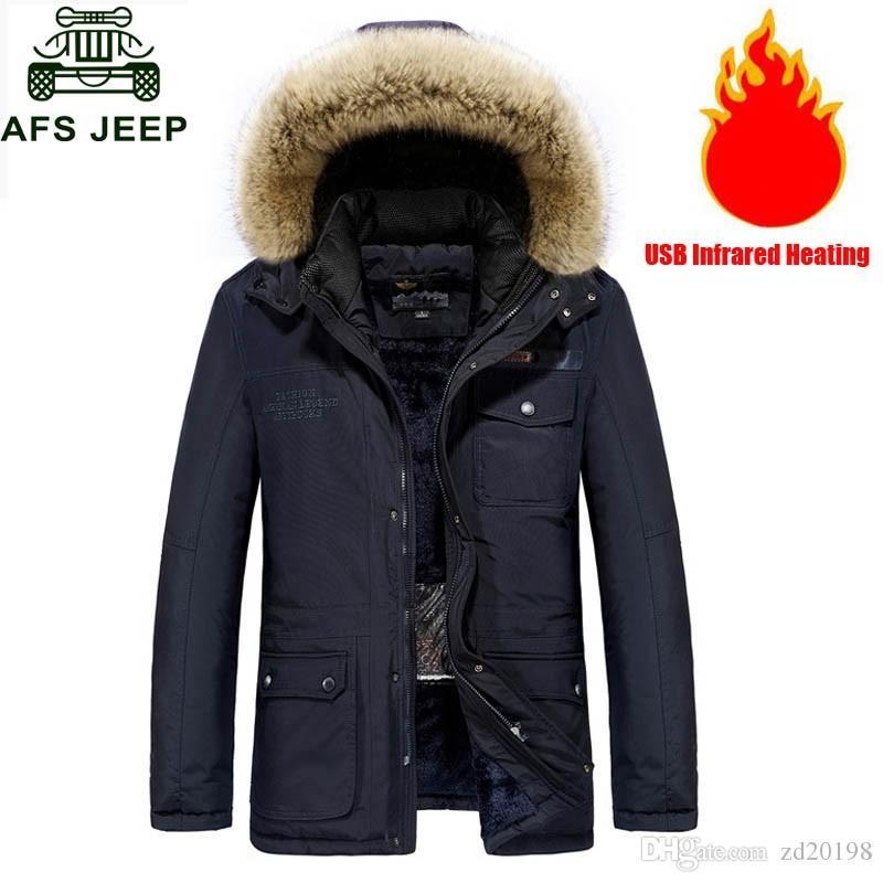 USB Heizung Winter Jacke Männer Mit Kapuze Wasserdichte Windjacke Mäntel Männlichen Dicke Warme Frauen Parka 4XL Oberbekleidung Kleidung