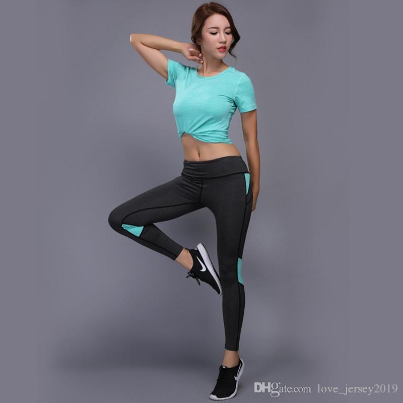67bda10e26cef Compre 2 Unidades Mujeres Yoga Set Fitness Gym Ropa Camisa + Yoga  Pantalones Leggings Conjunto Nuevo Traje Deportivo Mujeres Fitness Ropa    185919 A  48.7 ...