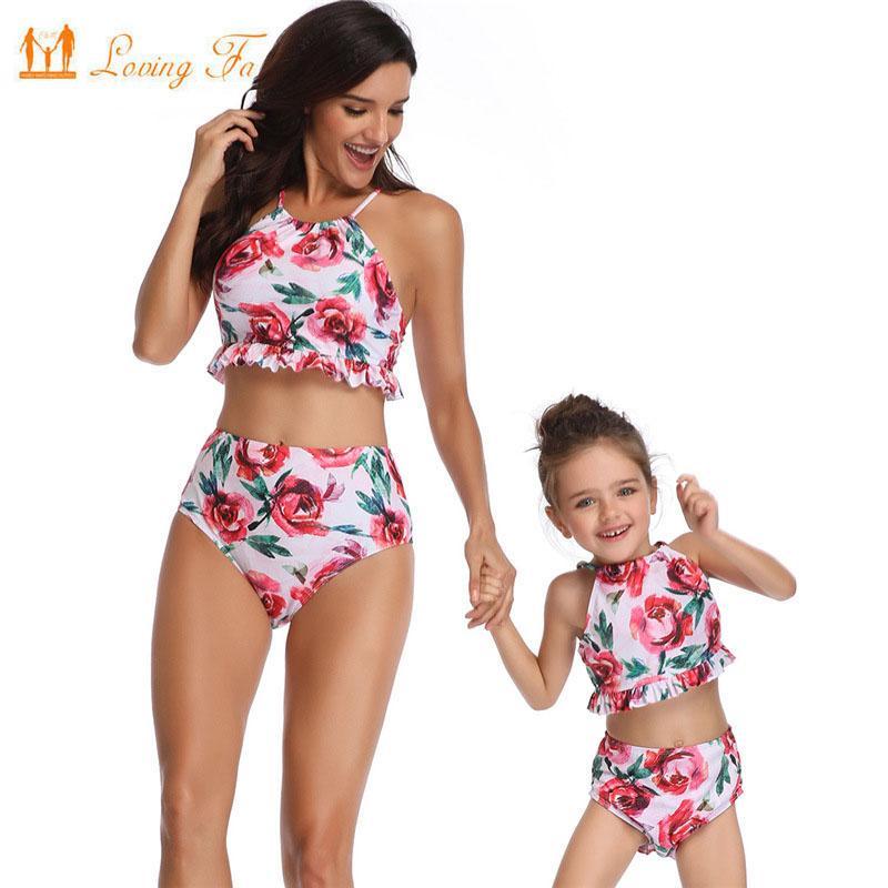 0d1ccb477d Compre Estampado Floral Mujer Niña Familia Ropa Verano Madre Hija Traje De Baño  Mamá Traje De Baño De Cintura Alta Bikini Sexy Mamá Mamá Ropa De Playa A ...