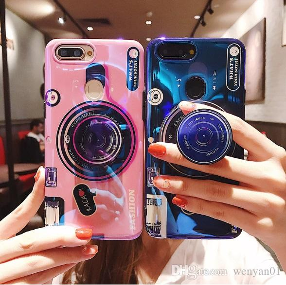 Blue Ray Camera Stand Holder Cell Phone Cases For Iphone X XS XR MAX 8 7 6 Plus For Samsung Galaxy S10 9 Soft Silicone Mobile Phone Cover