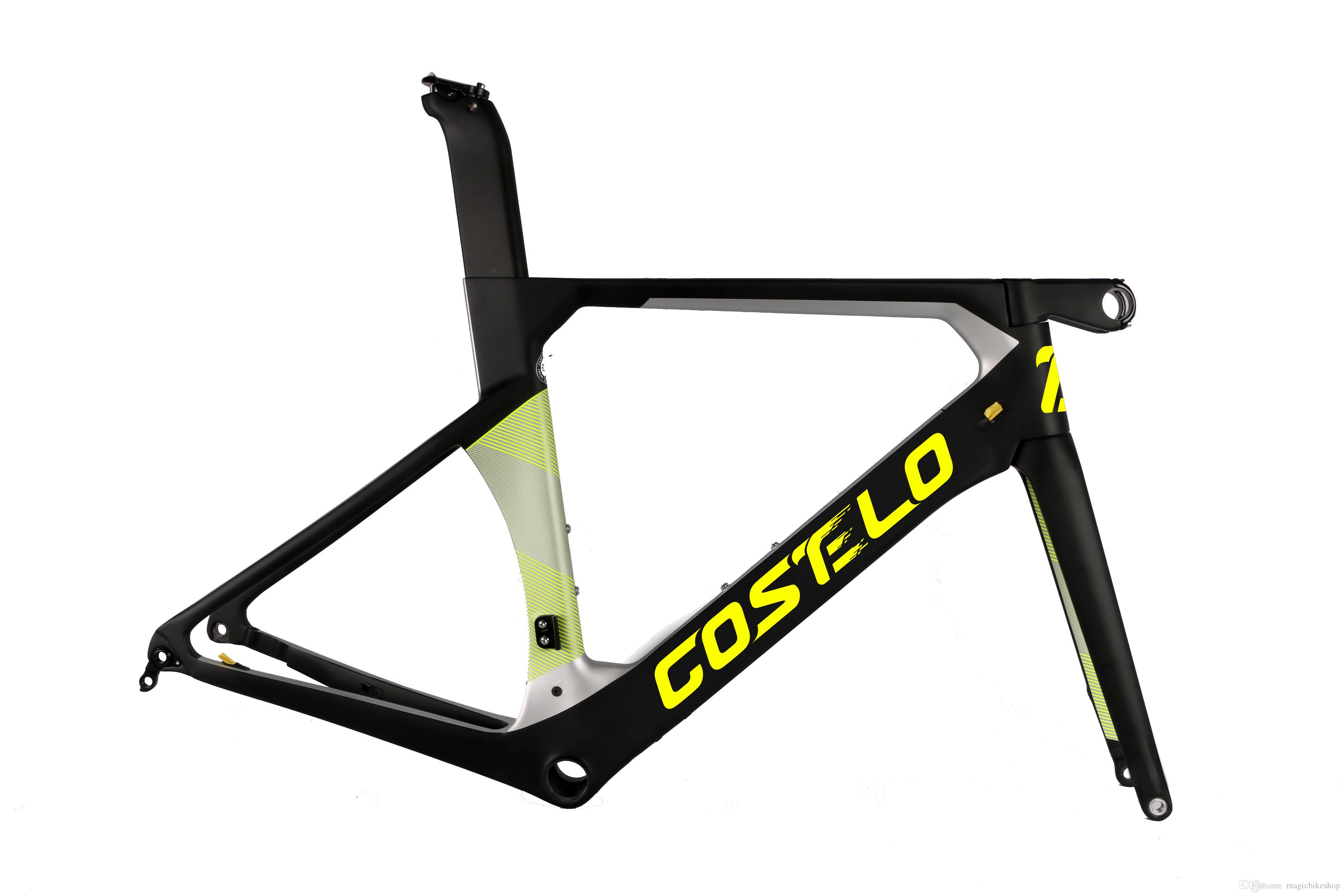 2019 costelo Aeromachine monocoques DISC Road full carbon bicycle frame,stem,fork with seatpost thru axle bici velo free shipping