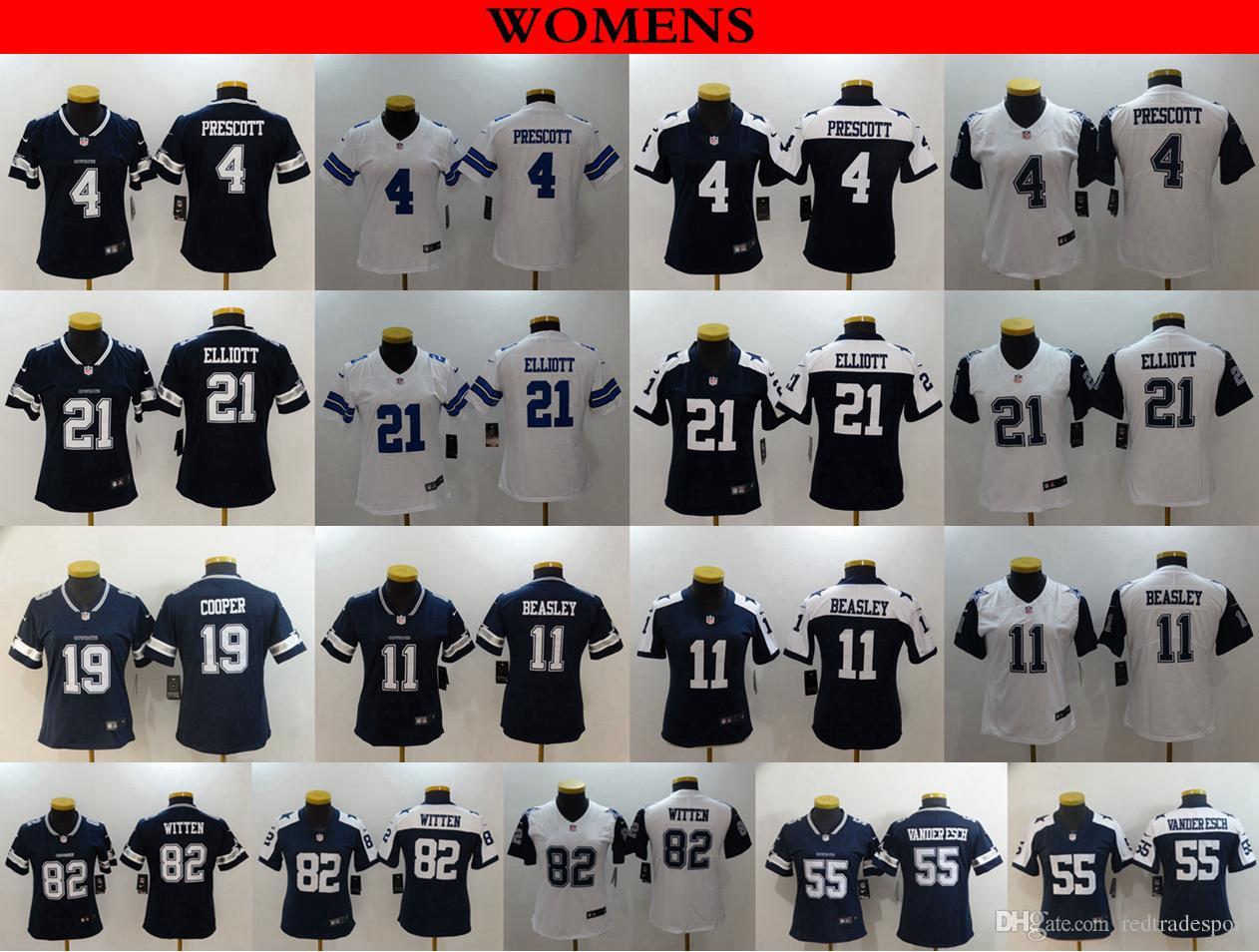 655b6c57f50 2019 Womens Dallas Ladies Cowboys 19 Amari Cooper 11 Cole Beasley 4 Dak  Prescott Witten Ezekiel Elliott 55 Leighton Vander Esch Football Jerseys  From ...