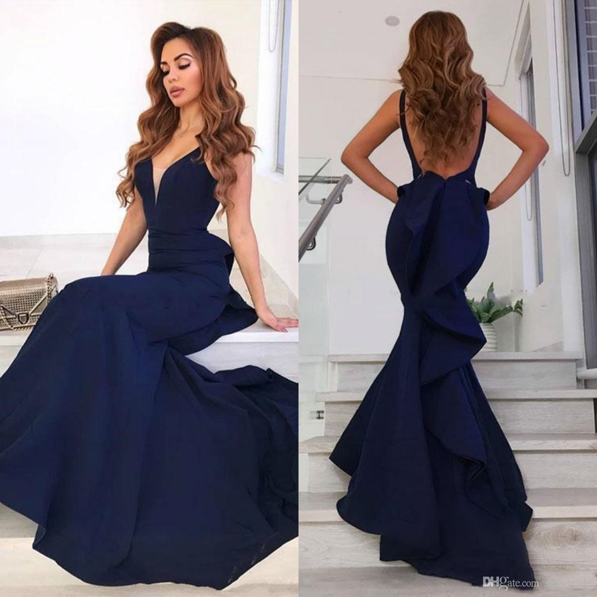 c32212983289 Sexy Navy Blue Mermaid Prom Dresses Long V Neck Backless Sweep Train  Ruffles Plus Size Satin Evening Formal Party Gowns Robes De Soirée Prom  Dress For Plus ...