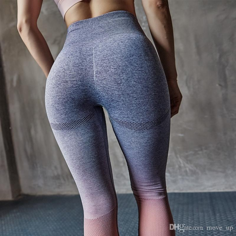 50e19d3856f5e 2019 High Rise Tummy Control Pink Sport Leggings For Women Seamless Ombre  Workout Active Jogging Pants Thick Fabric Yoga Leggings #484382 From  Move_up, ...