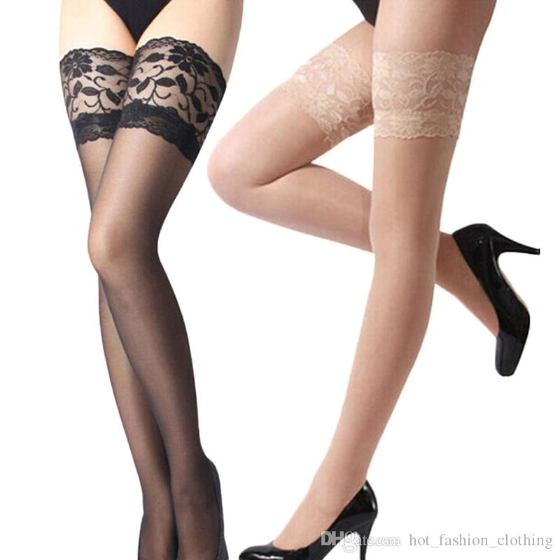 de4432343e8 2019 Hot Sexy Lace Suspender Stockings Summer Girls Long Socks Over Knee  Silk Stocking Thigh Highs Stockings Lace Stocking Top Solid From ...