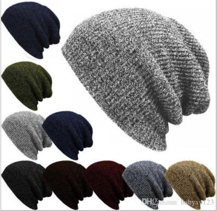 7f6062cad 50pcs Winter Casual Cotton Knit Hats For Women Men Baggy Beanie Hat Crochet  Slouchy Oversized Ski Cap Warm Y309