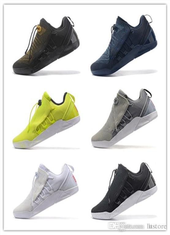 new concept 0bb0b c6336 Acheter 2019 Actualité Vente KOBE A.D. NXT 12 12s Chaussures De Basketball  Homme KB XII Zoom Chaussures De Sport Jaune Bleu Blanc Noir Loup Gris  Baskets ...