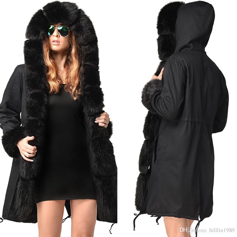 cb614e97efc Large Size Black Winter Parka Three Quarter Coat Women Casual Trench Coats  Fur Hooded Dust Coat Faux Fur Plus Size Parker Hannifin UK 2019 From  Hilllin1989