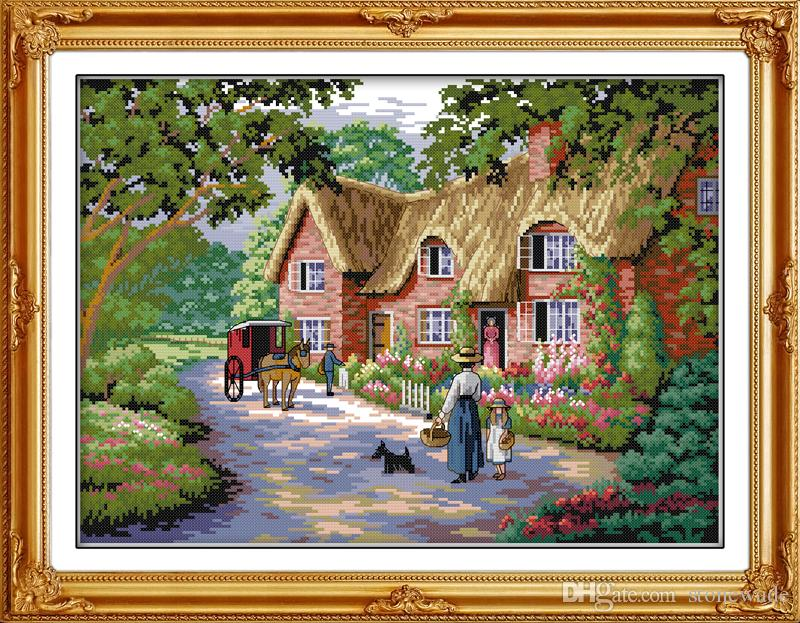 Life in countryside home decor painting ,Handmade Cross Stitch Embroidery Needlework sets counted print on canvas DMC 14CT /11CT