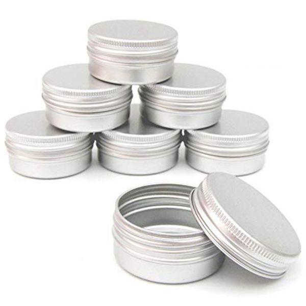 70pcs 60ml metallo barattolo di metallo argento acciaio barattoli di metallo vuoto scivolo scivolo rotondo contenitori di latta con coperchio a tenuta di torsione sigillato stretto