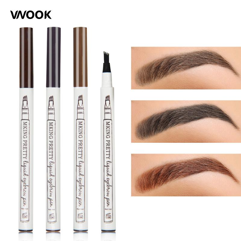 Brand Makeup Fork Tip Liquid Eyebrow Tattoo Pen Fine Sketch Eye Brow