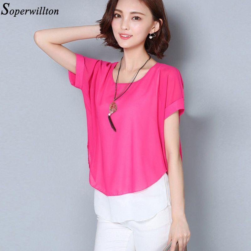 3aa39da9afc1 Blusas Femininas Mujeres Verano Camisa de gasa de manga corta 2019 Mujer  Top Lady Plus Tamaño 4XL Blusas sueltas Moda Rosa Azul H81