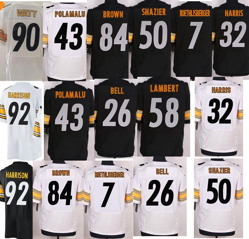 buy online 6fc9b bfa50 Pittsburgh jersey 30 James Conner 32 Franco Harris 43 Troy Polamalu 50 Ryan  Shazier 84 Antonio Brown 90 watt Steelers jersey