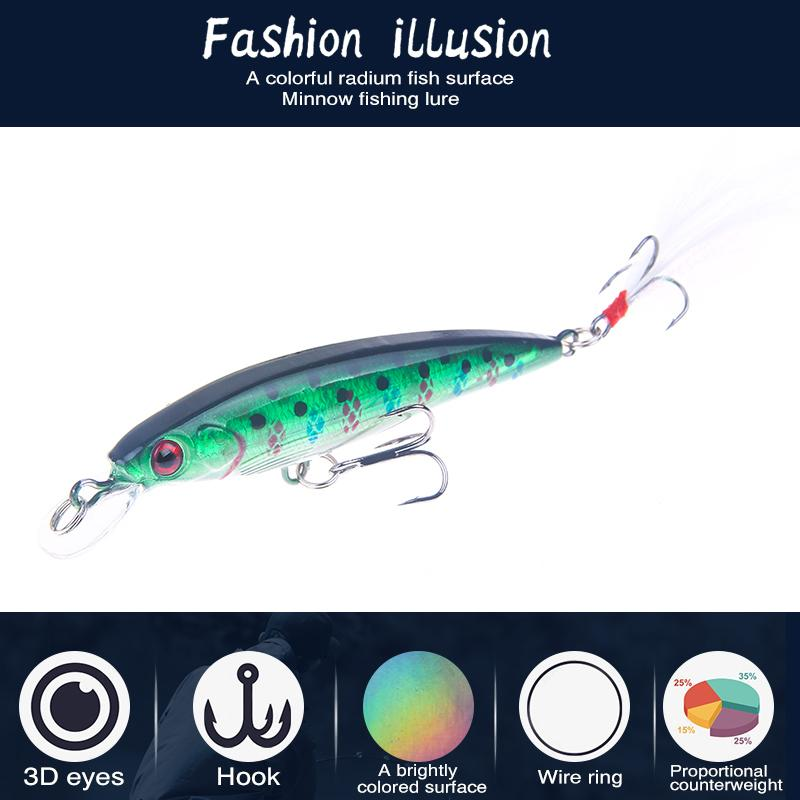 Minnow Fishing Lure 90mm 7g Hard Baits Artificial Quality Professional Wobblers Bass Pike Fishing Tackle Ya210