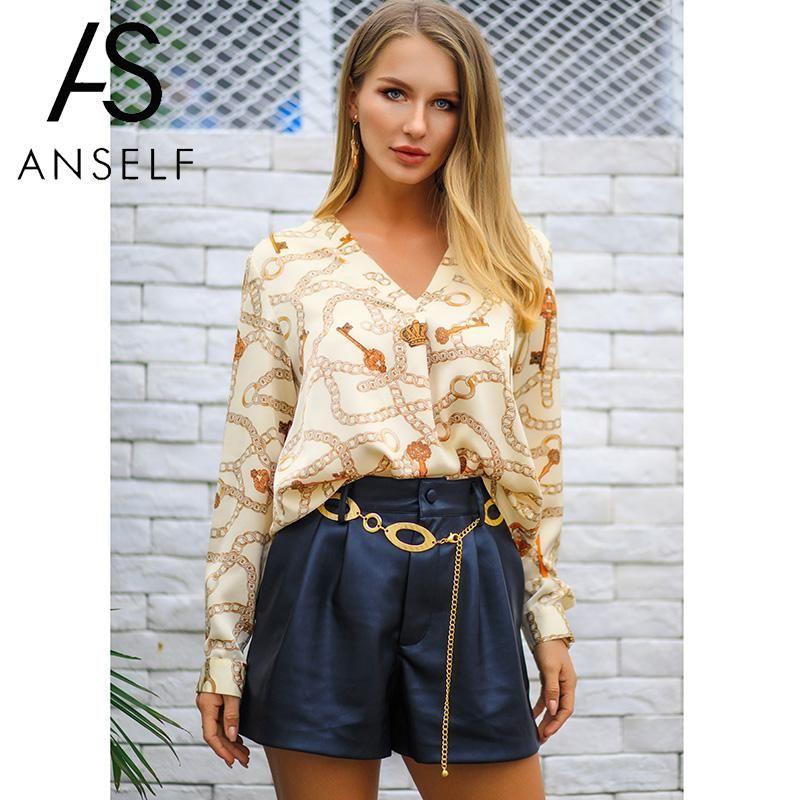 6e09e5d1d321bc 2019 Women Blouse Shirts Satin Faux Silk Contrast Chain Print V Neckline Long  Sleeve Blouse 2019 Spring Autumn Loose Top Female Tunic From Baiqian