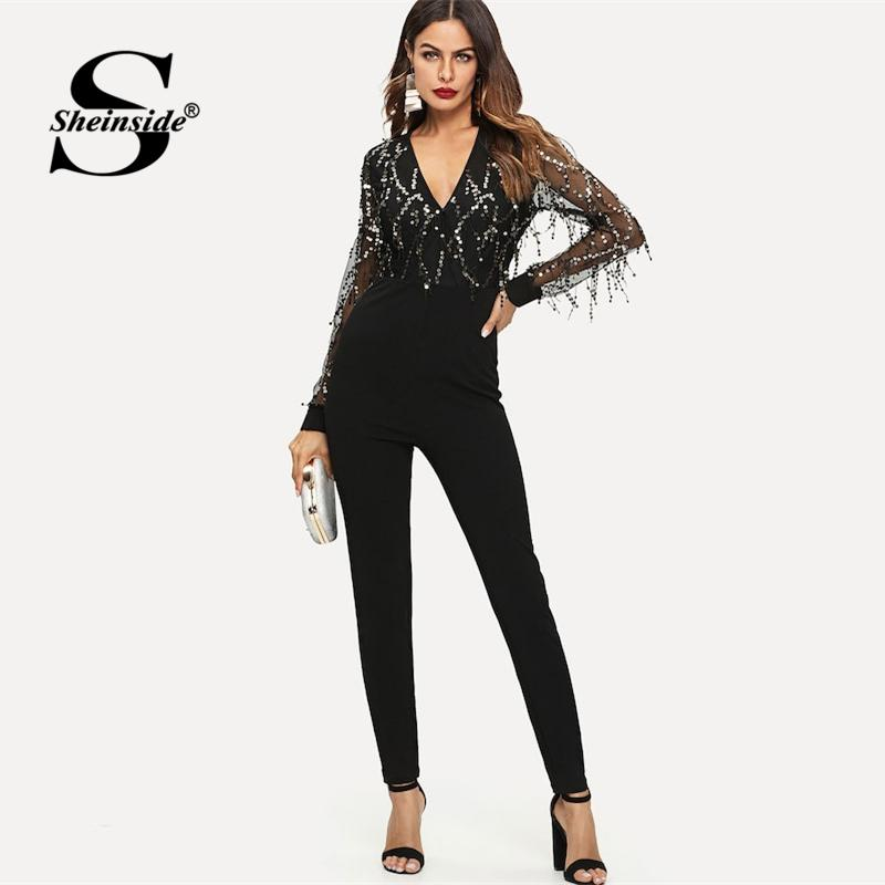 4108576d72f6f 2019 Sheinside Embellished Mesh Sleeve Fitted Sequin Jumpsuit Long Sleeve  Jumpsuits For Women 2018 Party Night Sexy Black Jumpsuit From Hiem, ...