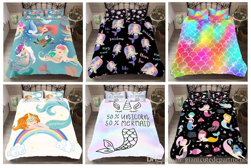 Dream Cartoon Colorful Mermaid Textiles para el hogar impresos en 3D Funda nórdica / edredones Juegos de sábanas, Twin, Full, Queen, King