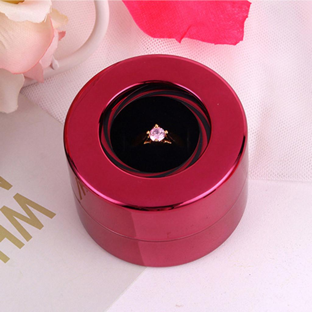 Creative Round Rotating Wedding Ring Gift Box Jewelry Display Storage Case Ample Silver Red Dark Blue Green Rose Gold Black A3