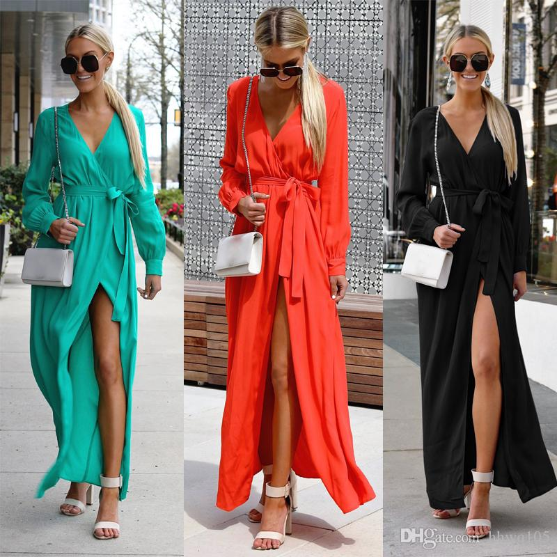 4483d39d9d5eae Women's V-Neck Long Sleeve Maxi Chiffon Dress Sexy Solid Split Long Beach  Party Dress Casual Wrap Dresses DYH1203