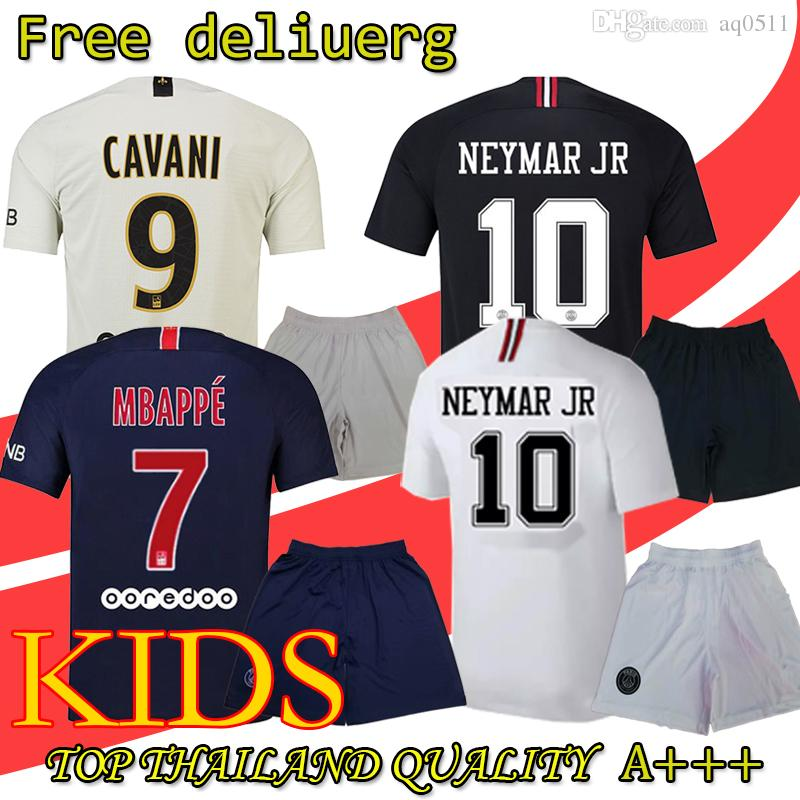 513f08d68f7 2018 Psg Kids Kit + Socks Jersey 18 19 Champions League MBAPPE Black ...