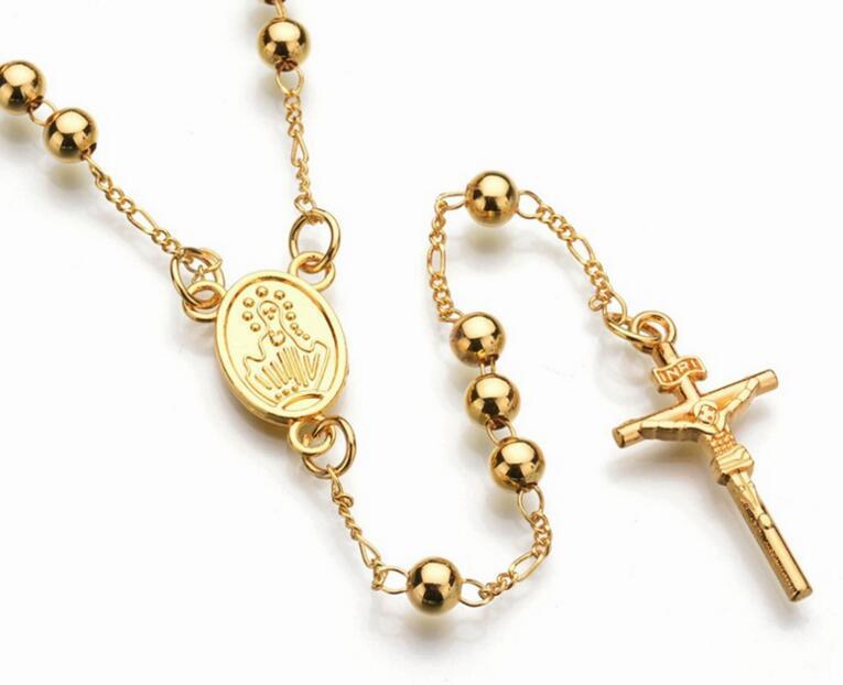 جديد موضة الذهب والفضة اللون يسوع الصليب قلادة قلادة الخرز سلسلة للنساء الرجال مريم العذراء الوردية الصلاة مجوهرات الدينية