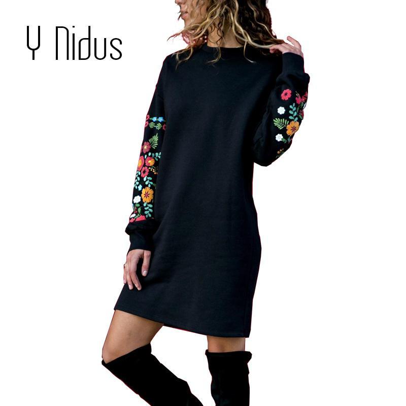 best website 28758 dbb93 Y Nidus Abiti Donna Inverno Mini abito elegante stampa floreale manica  lunga O-collo allentato vestito caldo nero Streeetwear vestido 2018