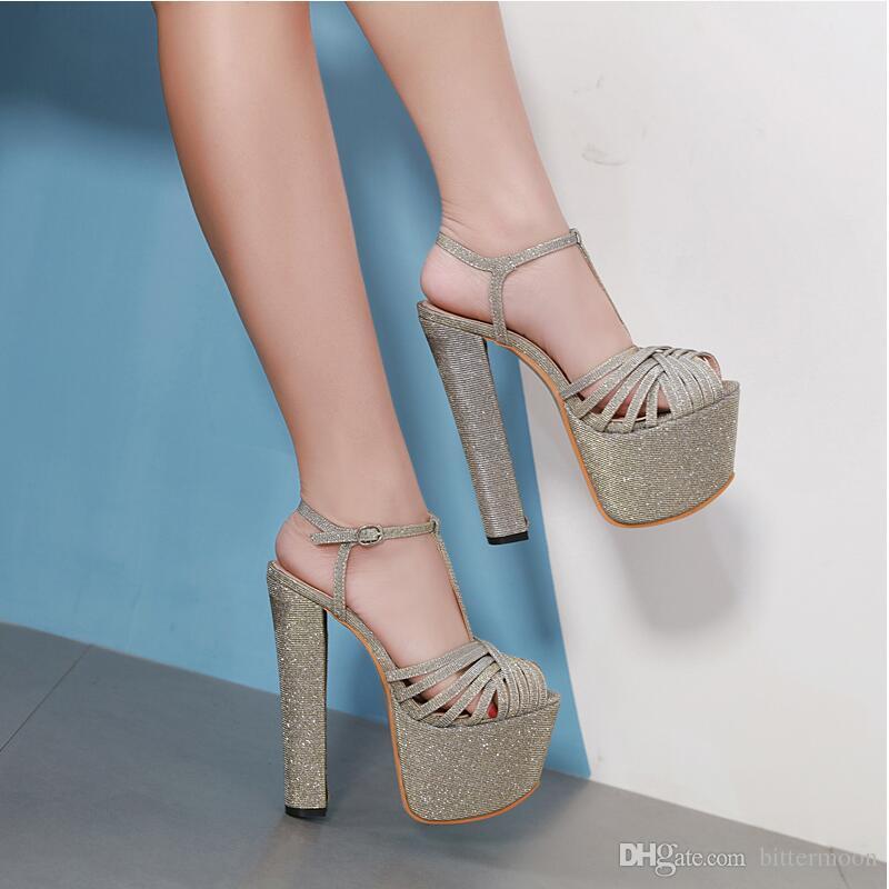 Zapatos Mujer Peep Buckle Alto Sandalias Gratis Gold Glitter T 2019 De Toes New Sexy Plataforma Verano Recortes Envío Tacones Heel Tacón Chunky SUzVpqM