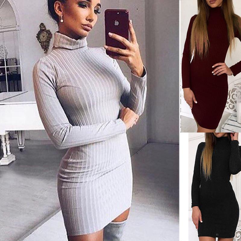 a8e9b567c02a 2018 novos vestidos outono inverno camisola das mulheres dress costela cor  sólida fino o-pescoço longo-manga comprida casual longo vestido de malha ...