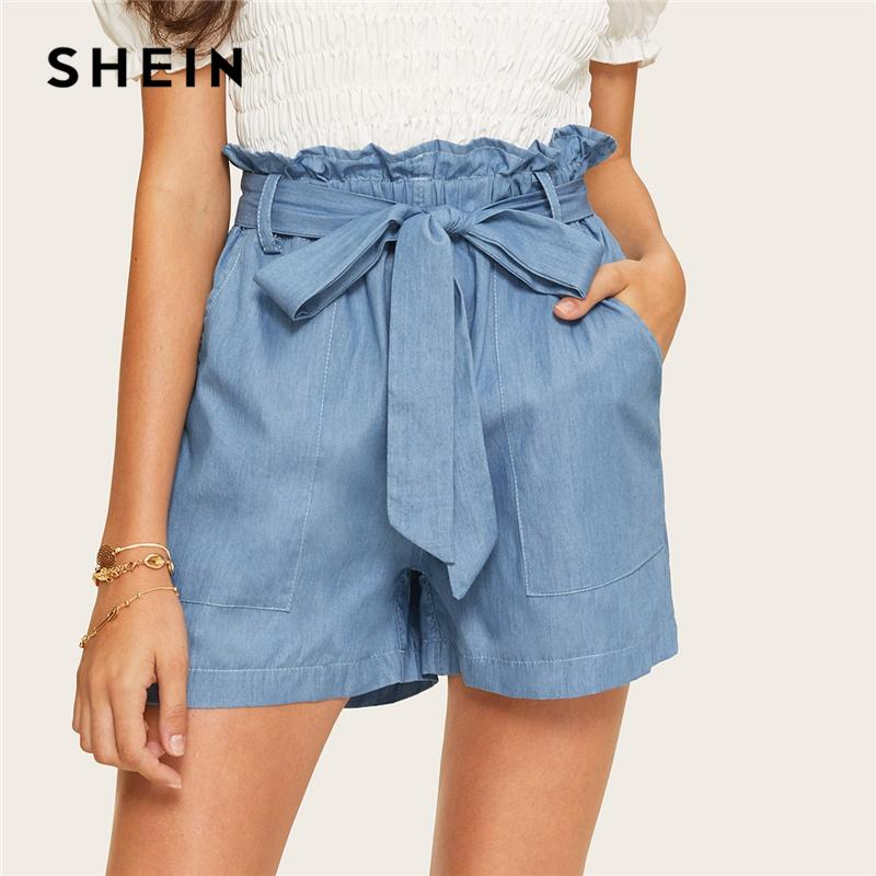 c58c260779 2019 SHEIN Casual Blue Paperbag Waist Twin Pocket Patched Belted Denim  Shorts Women Summer 2019 High Waist Wide Leg Solid Shorts From Hiem, $20.91  | DHgate.