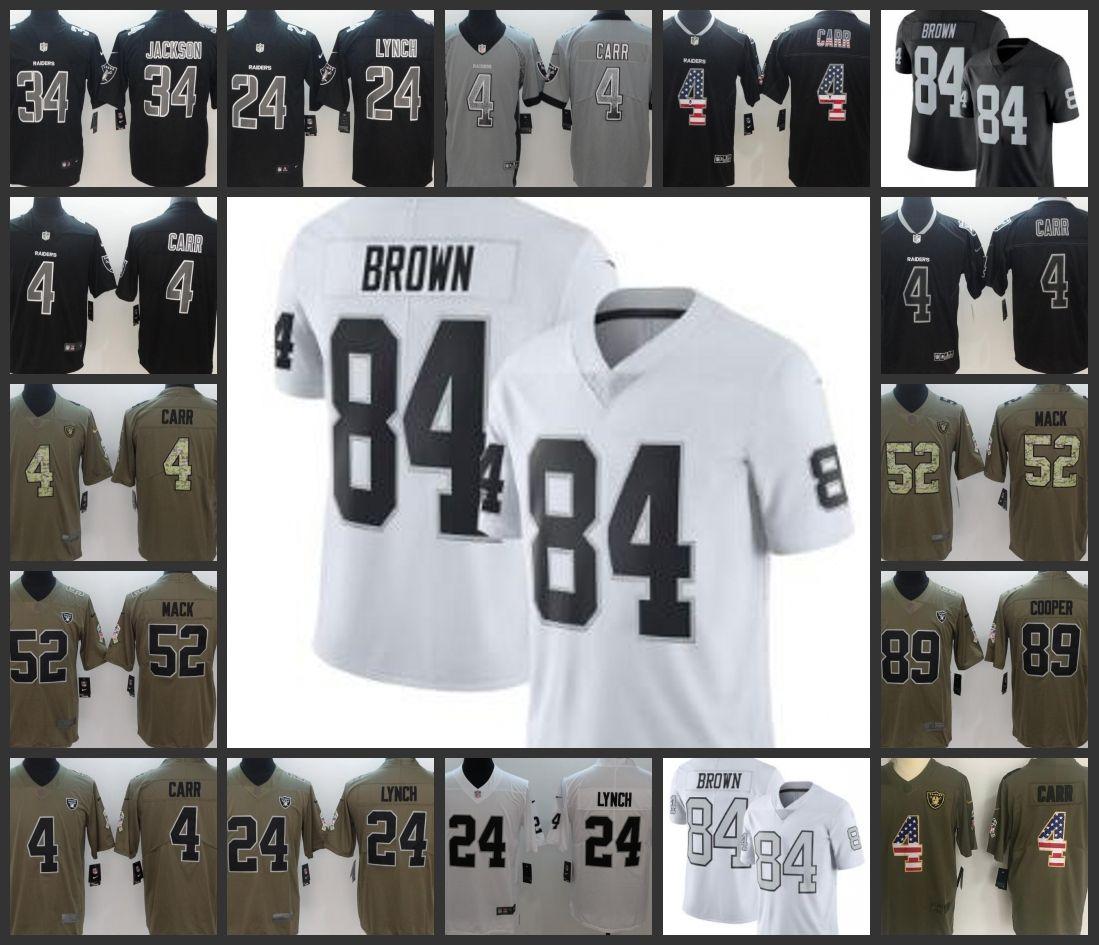 best website a5f05 c7680 Oakland Men Raiders Jersey #84 Antonio Brown 4 Derek Carr 24 Marshawn Lynch  89 Amari Cooper 34 Bo Jackson Women Youth Football Jerseys