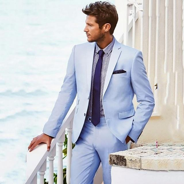 12ccef7edf410 Compre traje azul claro para hombres trajes casuales de boda en jpg 640x640 Traje  azul claro