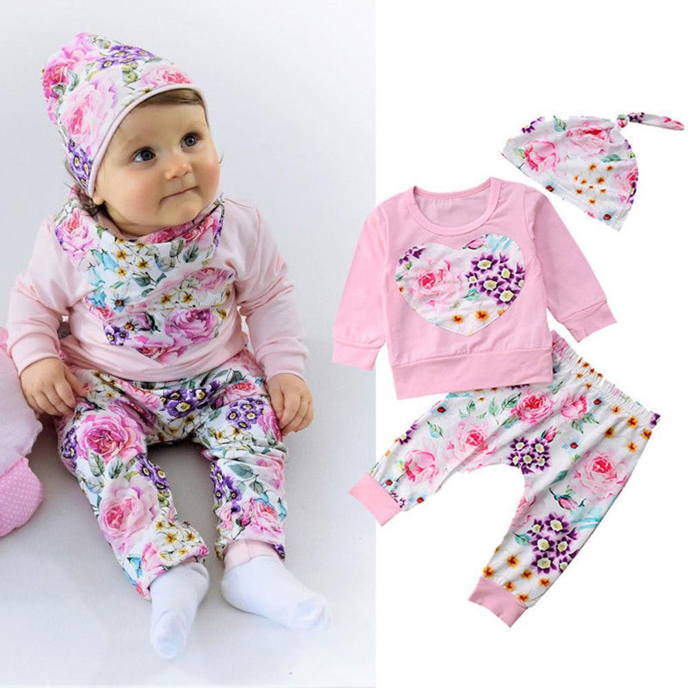 4e08744af3f5f Acheter Vêtements Pour Enfants De Bonne Qualité Ensemble De Vêtements Pour Enfants  Vêtements De Fille Pour Bébé Chemise À Fleurs Tops + Pantalon Chapeau ...