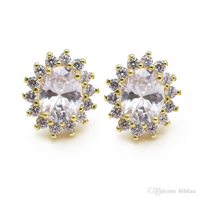 63495ec84b5 600E Super Shiny Oval CZ Stud Earrings for Elegant Women Jewelry 14k ...