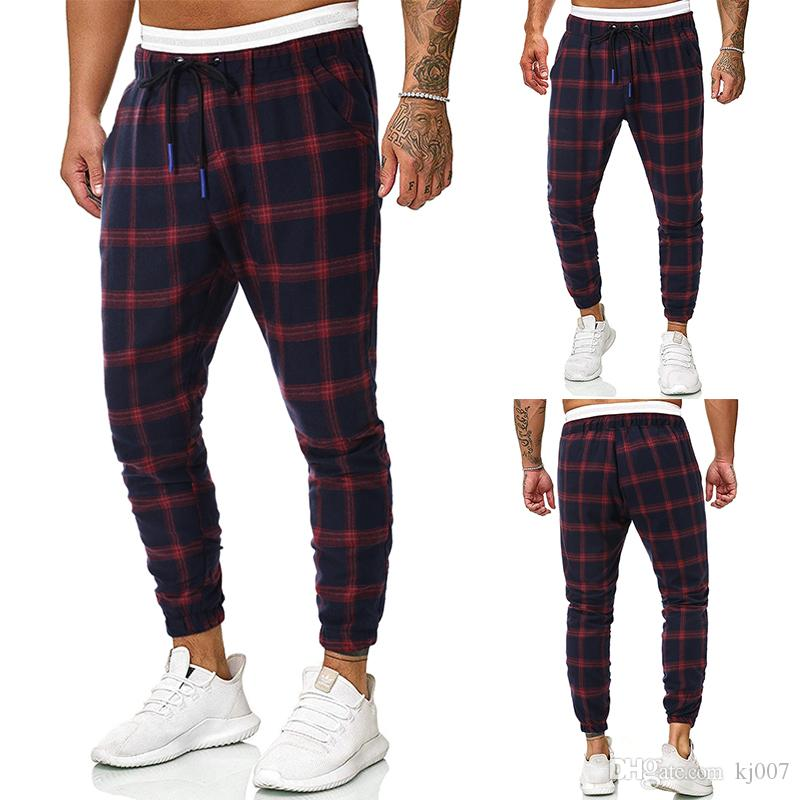 Summer Men Pants Hot Sale Plaid Design Harlan Casual Pants Suit Pants Personality Loose Sports Pant Pockets Free Shipping Men Clothing Mens
