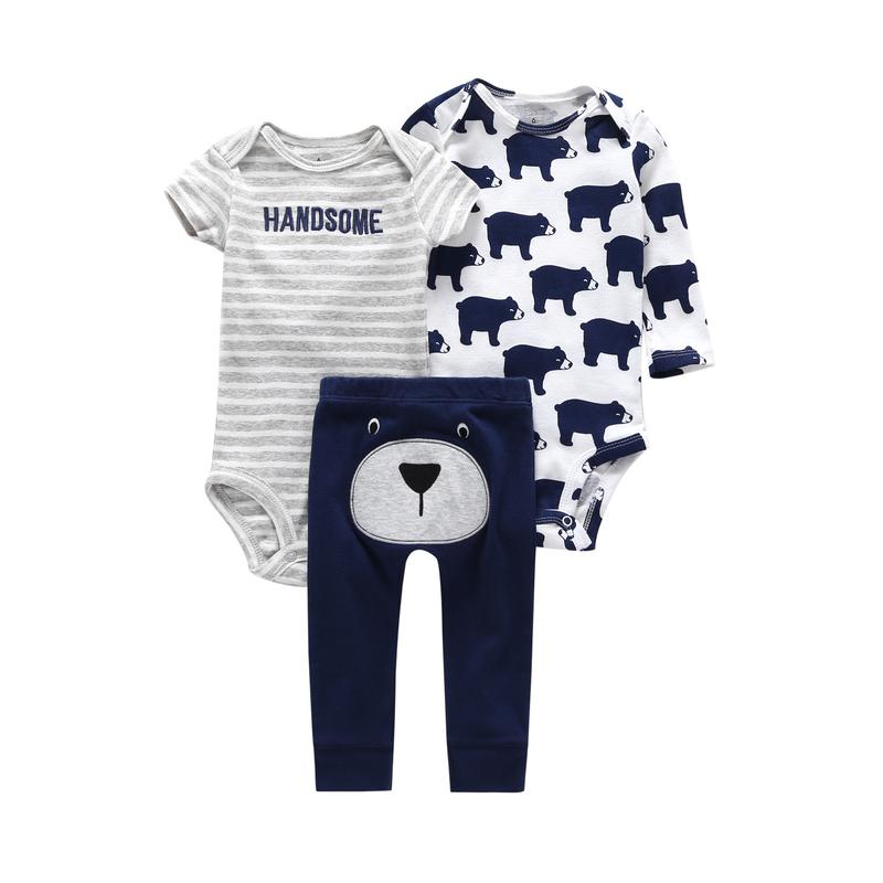 9bf440921e5c9 Newborn Set Summer Infant Clothing Baby Boy Girl Clothes Cotton Cartoon  Bodysuit+rompers+pant New Born Bear Animal Print Outfits Y19050801