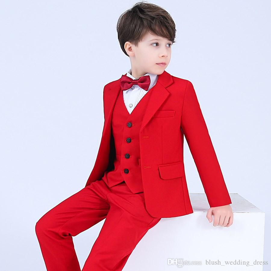 a83306166f86 Suits & Sport Coats Formal Boy Black Suit Notch Lapel Tuxedo Kid Baby Free  Red Bow Tie ...