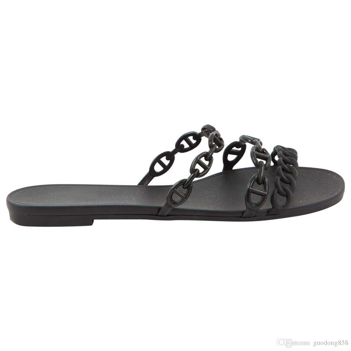 74f4fa8656b1 New Arrival Womens Pre Owned Nude Black Leather Sandals Girls Street  Fashion Flat Slippers Flip Flops Size Euro 35 41 Cheap Boots High Heel Shoes  From ...