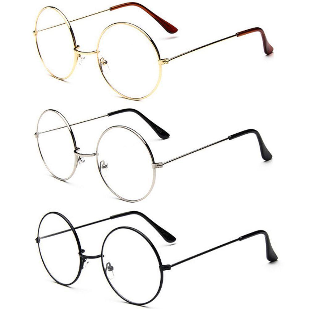 3 Farben Mann Frau Retro Große Runde Brille Transparente Metall Brillen Rahmen Schwarz Silber Gold Brille Brillen Rabatte Verkauf Damenbrillen Brillenrahmen