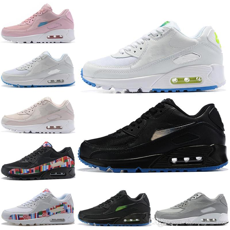 competitive price d4f87 e87a5 Acheter Nike Air Max 90 90s Shoes De Mode Sport Chaussures De Course Pour  Hommes Femmes Blanc Noir Noir Rose Gris En Plein Air Hommes Formateur  Athlétique ...