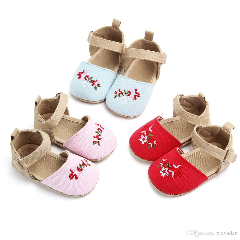 2018 New Summer Fall for Little Girls First Steps of Newborns Fresh Embroidered Princess Bow Bow Shoes for Little Girls Cotton Shoes