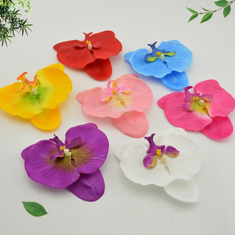 10 Pcs 10cm Silk Butterfly Orchid Artificial Head For Wedding Car Decoration Orchs Mariage Flores Cymbidium Flower Plants