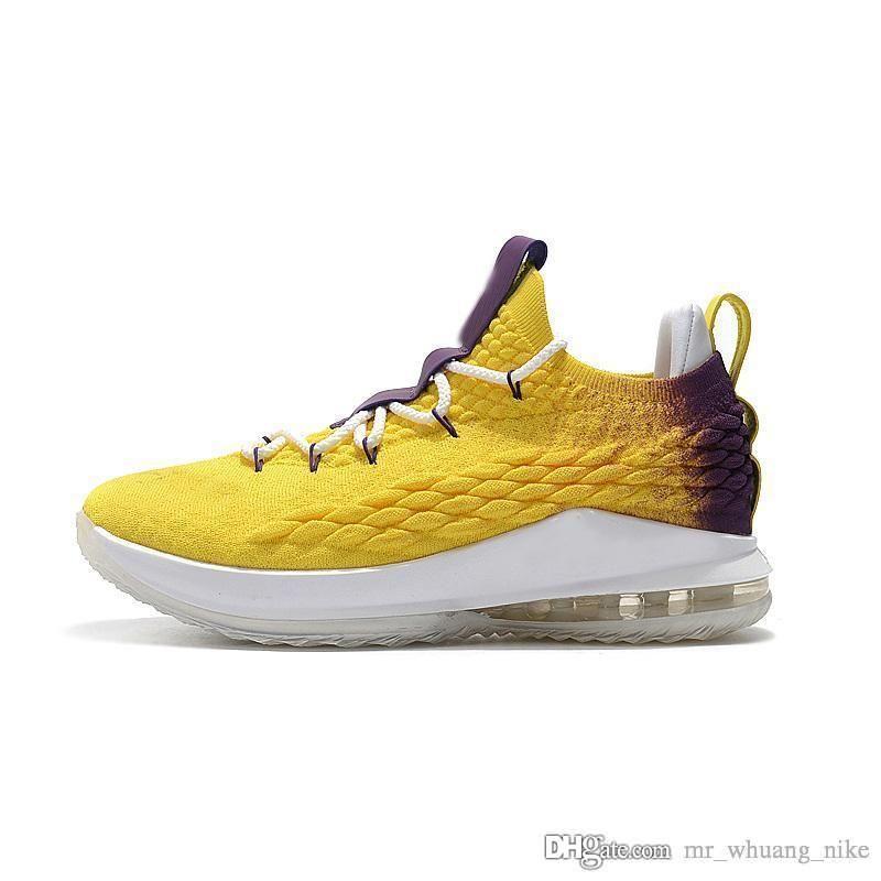 best website b0f05 62762 Satılık ucuz erkek lebron 15 düşük basketbol ayakkabı Sarı Altın Mor Lakers  erkek kız gençlik çocuklar açık spor sneakers ile çizmeler