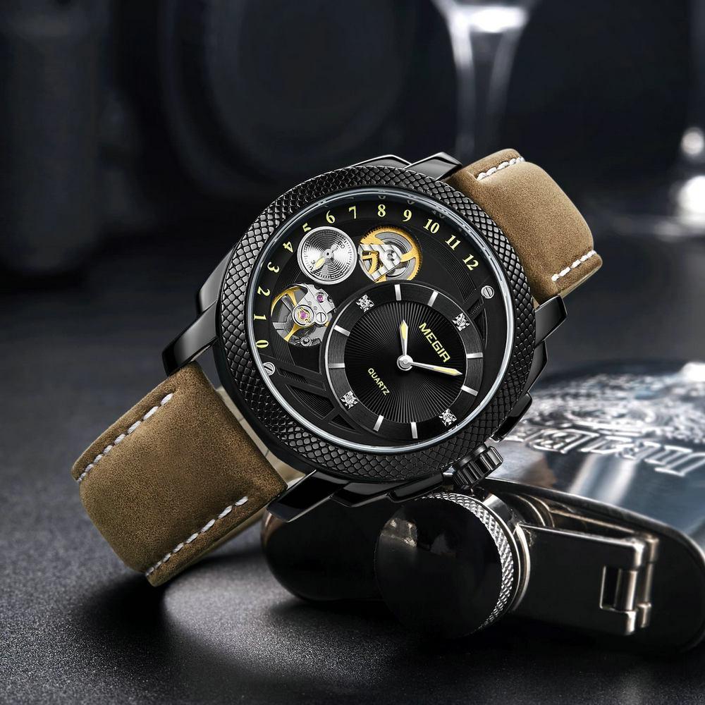 c606b3bb2 MEGIR 2019 Vintage Quartz Watch Men Unique Skeleton Dial Brown Leather  Strap Fashion Casual Mens Watches Top Brand Luxury Gift Online Watches  Diamond ...