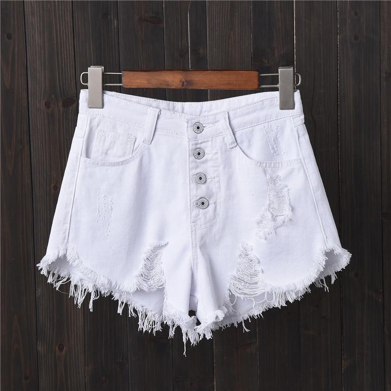86fda57a9f 2019 Womens Casual Shorts High Waist White Denim Shorts Ripped Holes Short  Jeans Tassel Big Sizes S 5XL 6XL Blue Black 2019 Fashion From Xiatian8, ...
