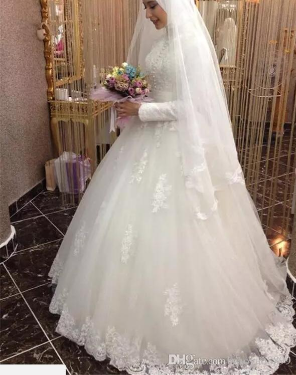 Modeste Robe De Mariée Musulman 2019 Turc Gelinlik Dentelle Applique Longueur Du Sol Islamique Robes De Mariée Col Haut Manches Longues Robes De