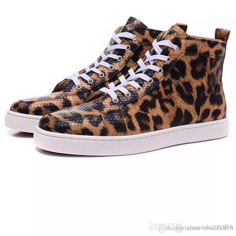 34f40bd03fb 2019 2017 Luxury Brand Men Red Bottom Shoes Leopard Print Sneakers For  Women High Top Causal Shoes Unisex Flat Dress Shoes From Zhenwen201866